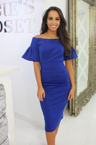 Bardot Midi Dress Cobalt Blue