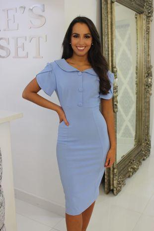 Blue Collared Midi Dress