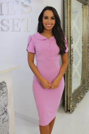 Pink Collared Midi Dress