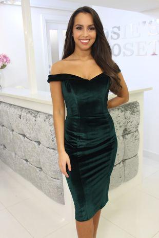 Velvet Bardot Dress Green