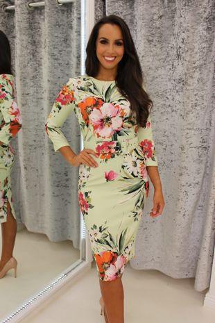Mint Floral Belted Dress