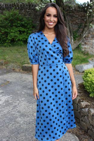Blue Polka Dot Wrap Dress