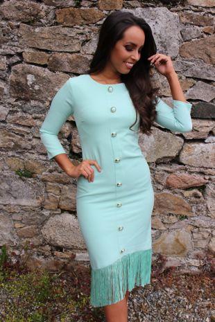 Mint Fringe Dress