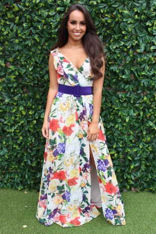 Floral Print Belted Maxi