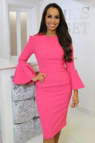 Hot Pink Bell Sleeve Dress