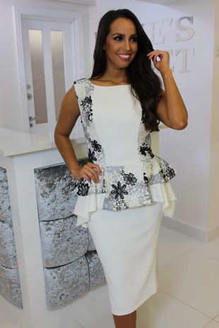 Ivory Peplum Dress with Lace Detail