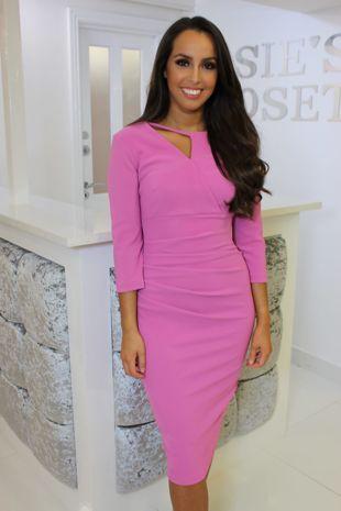 3/4 Sleeve Rose Pink Midi Dress