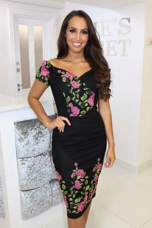 Black Bardot Pink Rose Embroidery Dress