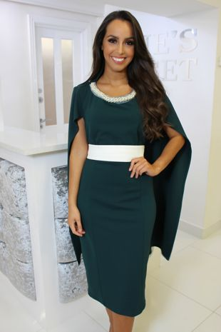 Forest Green Cape Dress