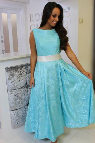 Turquoise Midi Length Skater Dress
