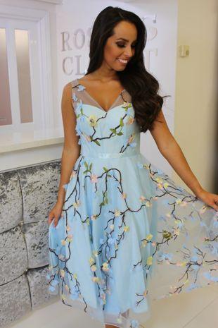 Blue Floral Skater Dress