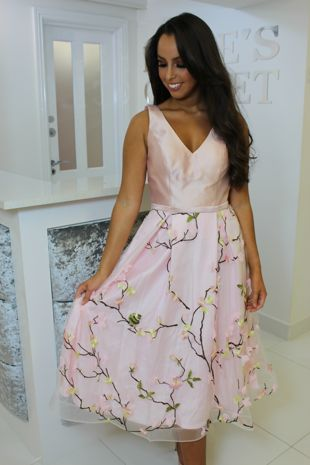 Blush Pink Floral Skater Dress
