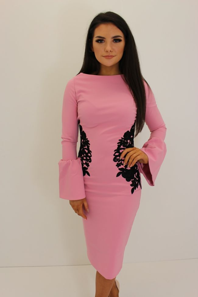 Rose Midi Dress With Black Embroidery