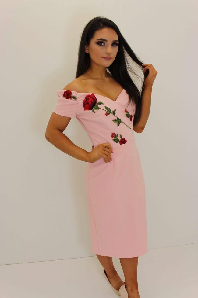 Pink Bardot Red Roses Dress