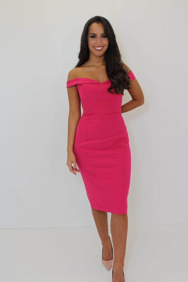 Fuschia Pink Bardot Midi Dress