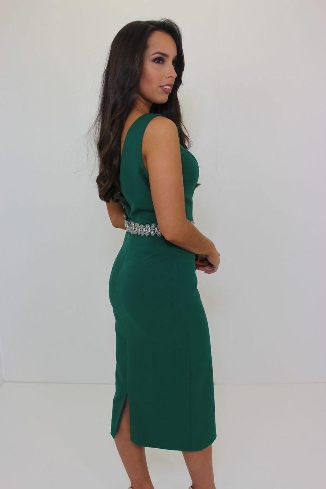 Green Midi Dress with Belt