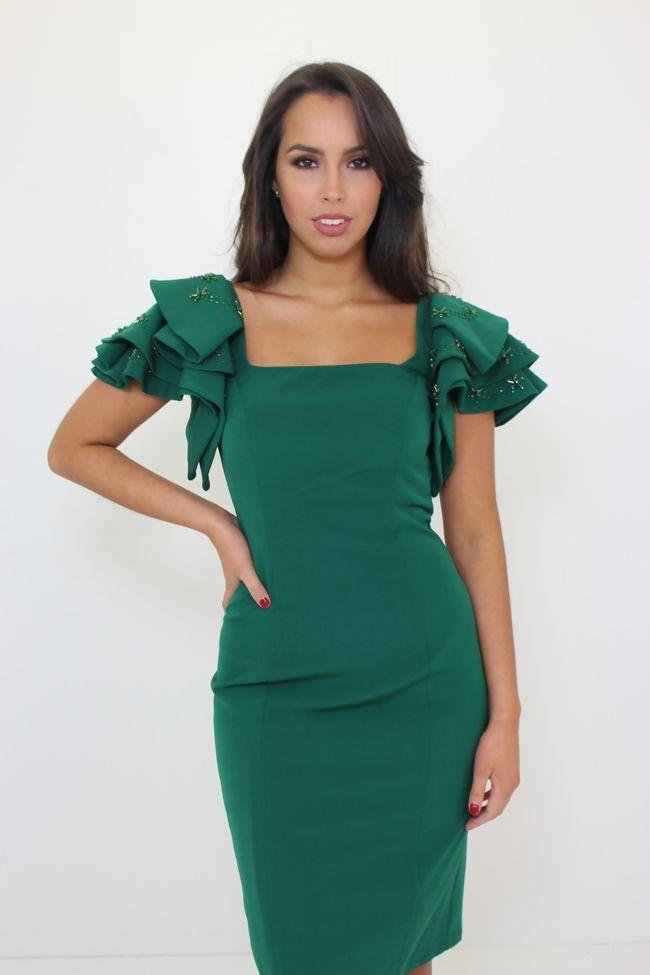Green Frill Sleeve Dress