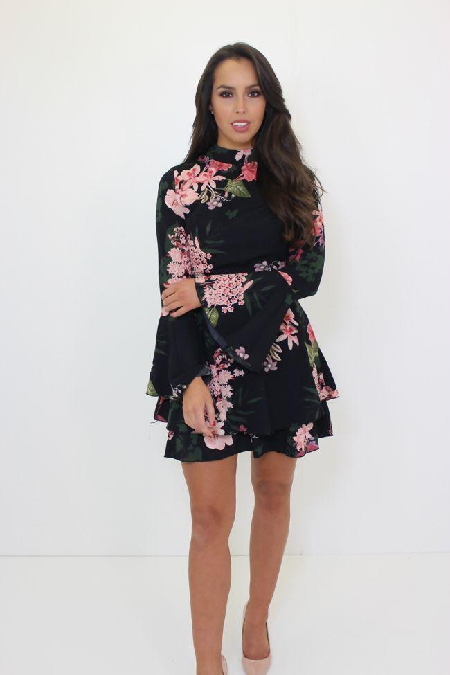 Floral Flare Sleeve Frill Hem Dress