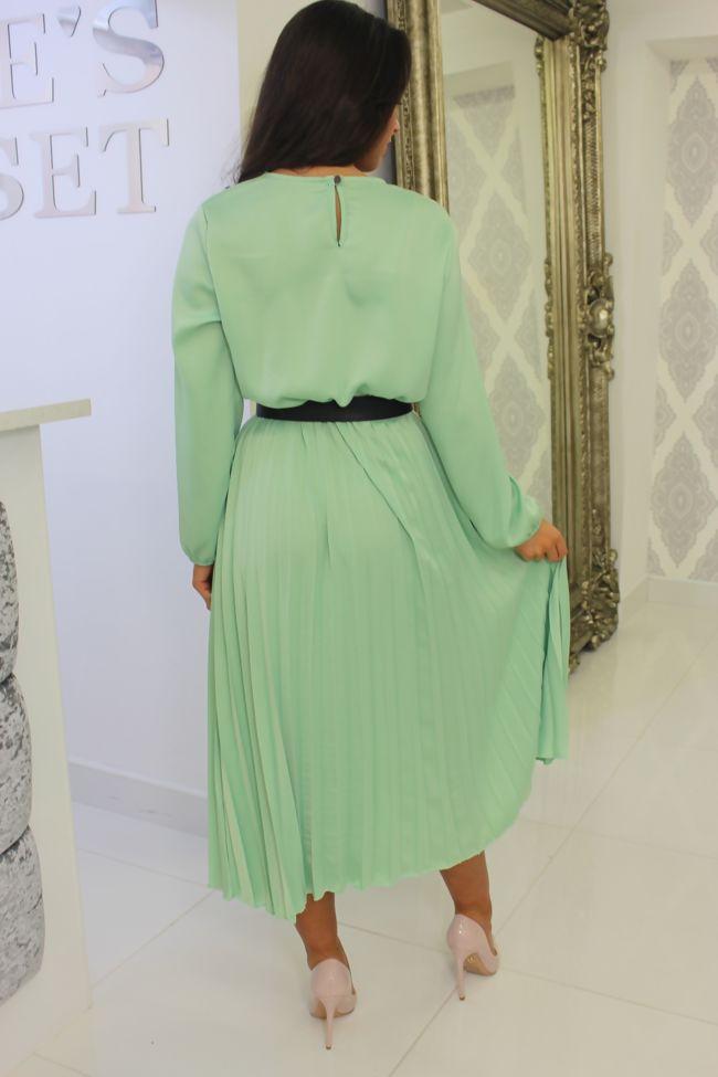 Mint Pleated Midi Dress
