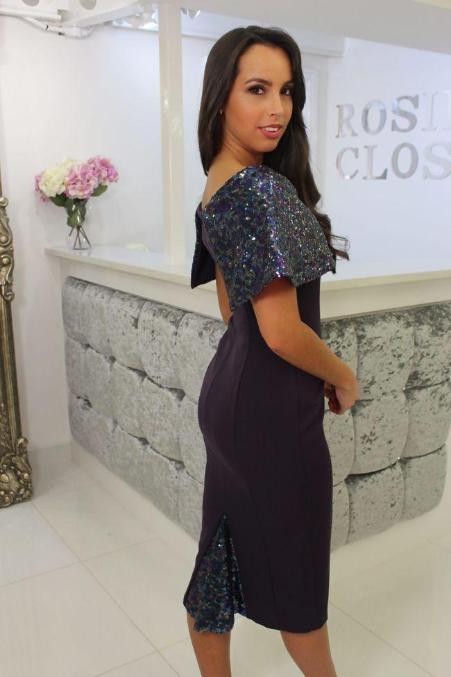 Purple Sequin Top Midi Dress