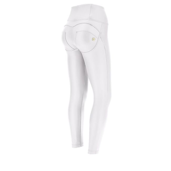 High Waist White Faux Leather Freddy Jeans